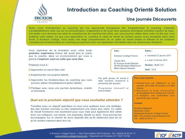Introduction au Coaching Orienté Solution                                                                                 ...