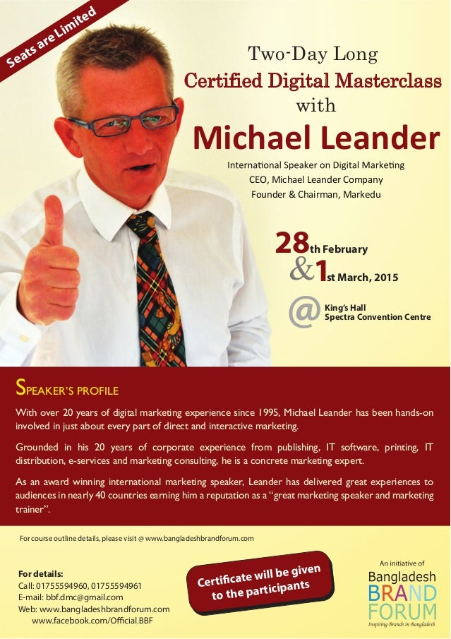 SPEAKER'S PROFILE With over 20 years of digital marketing experience since 1995, Michael Leander has been hands-on involve...
