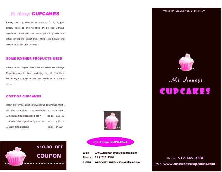 ms nancys cupcakes brochure