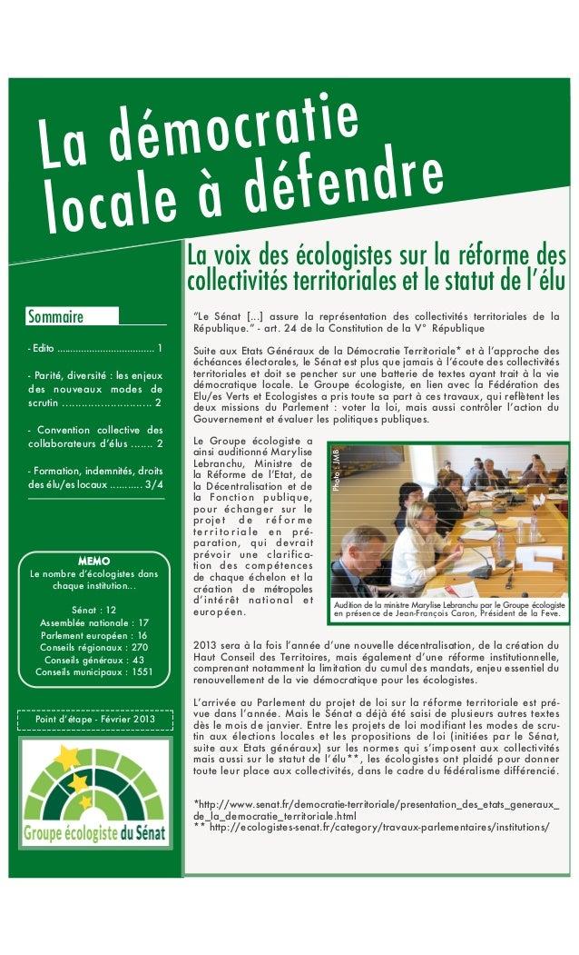 La voix des écologistes sur la réforme des                                                 collectivités territoriales et ...