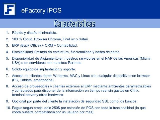 Brochure eFactory Software de Punto de Venta Web iPOS/TPV en la nube Slide 2
