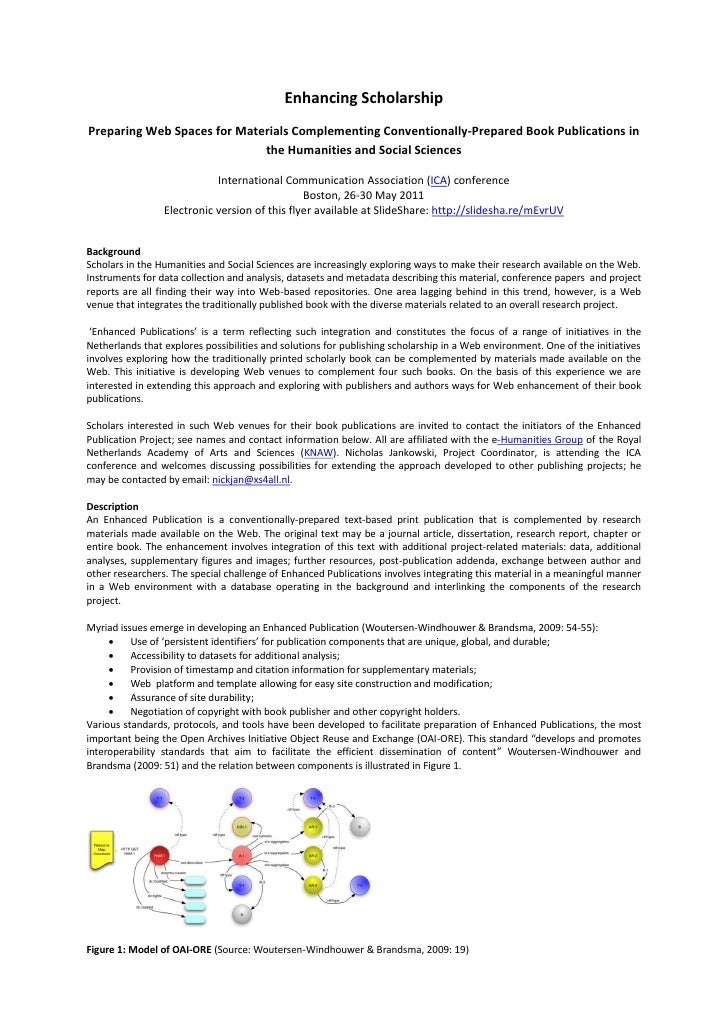 Enhancing ScholarshipPreparing Web Spaces for Materials Complementing Conventionally-Prepared Book Publications in        ...