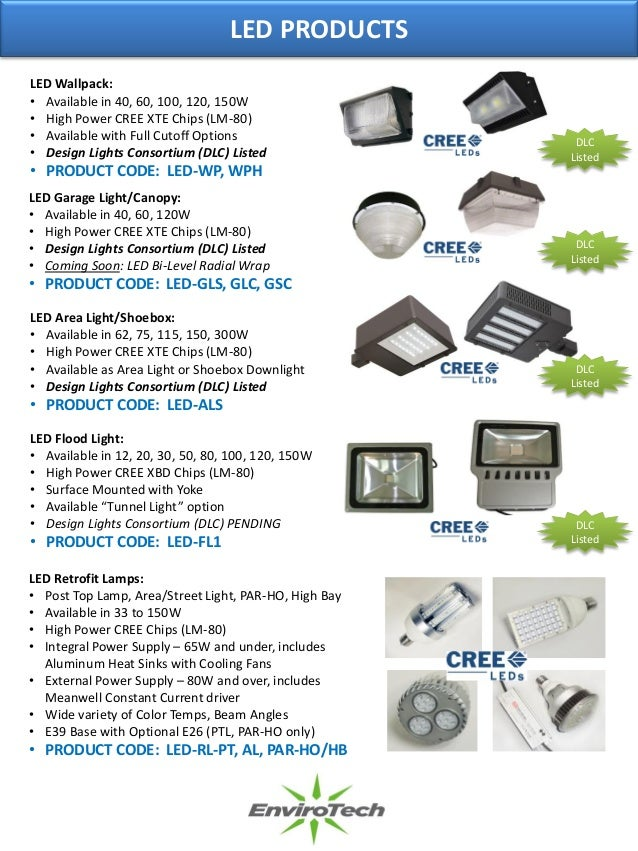 Envirotech Lighting Led Brochure Led Fixtures Retrofits