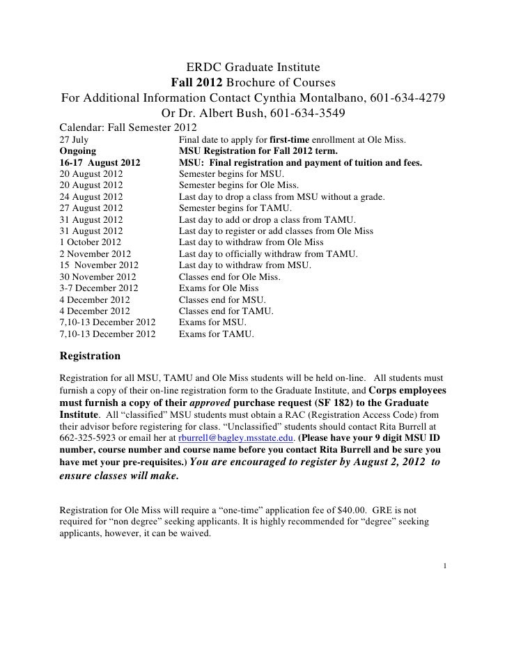ERDC Graduate Institute                    Fall 2012 Brochure of CoursesFor Additional Information Contact Cynthia Montalb...