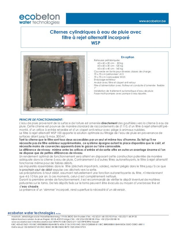 ecobeton water technologies nv/sa maatsch. zetel/siège social: Hasseltsesteenweg 119 I B-38OO Sint-Truiden I Tel.: +32 (O)...