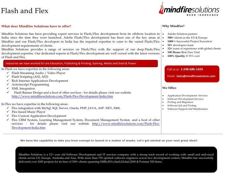 Flash and FlexWhat does Mindfire Solutions have to offer?                                                                 ...