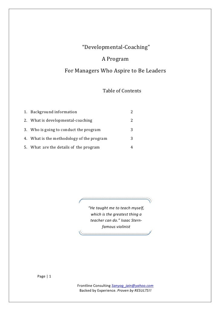 """""""Developmental-Coaching""""                                         A Program                    For Managers Who Aspire to B..."""