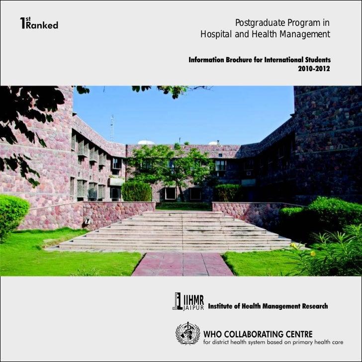 Postgraduate Program in    Hospital and Health ManagementIIHMRJAIPUR