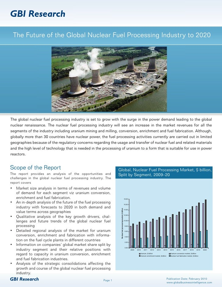 The Future of the Global Nuclear Fuel Processing Industry to 2020     The global nuclear fuel processing industry is set t...
