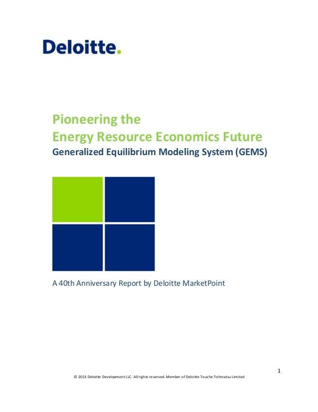 Pioneering the Energy Resource Economics Future Generalized Equilibrium Modeling System (GEMS)  A 40th Anniversary Report ...
