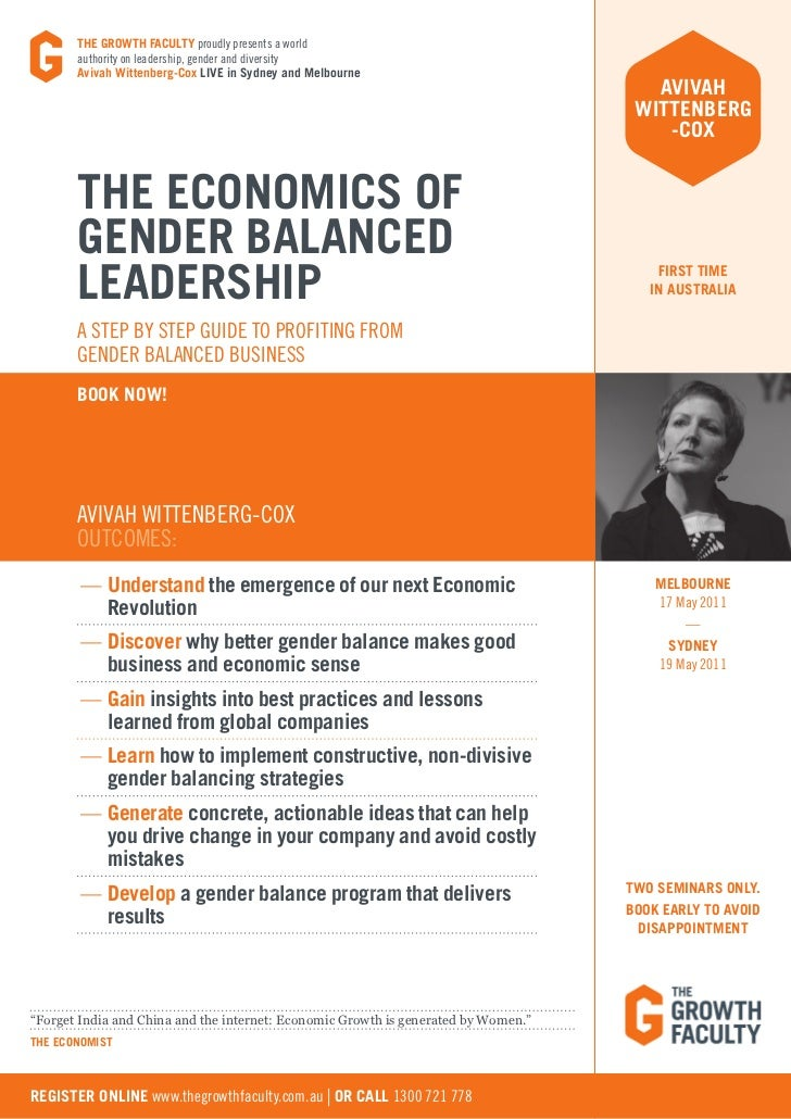 THE GROWTH FACULTY proudly presents a world       authority on leadership, gender and diversity       Avivah Wittenberg-Co...