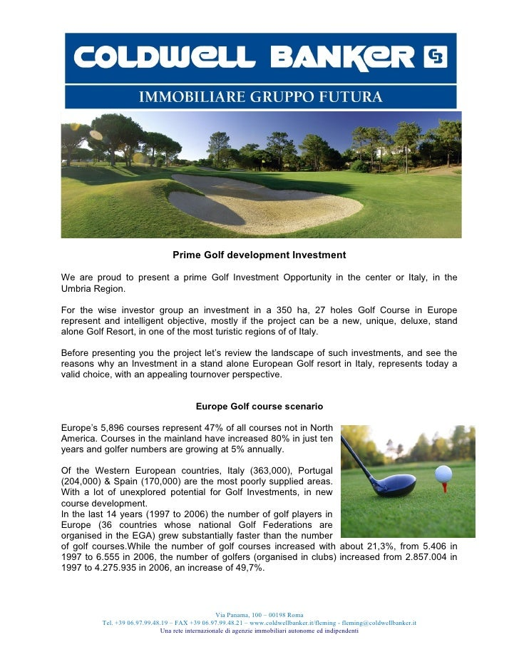 Prime Golf development InvestmentWe are proud to present a prime Golf Investment Opportunity in the center or Italy, in th...