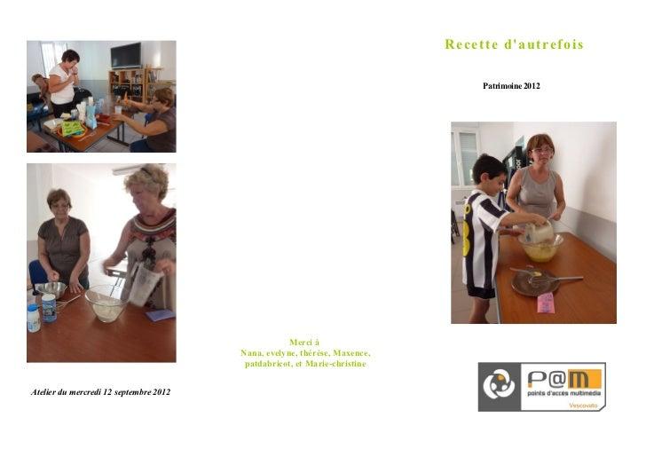 Recette dautrefois                                                                                Patrimoine 2012         ...