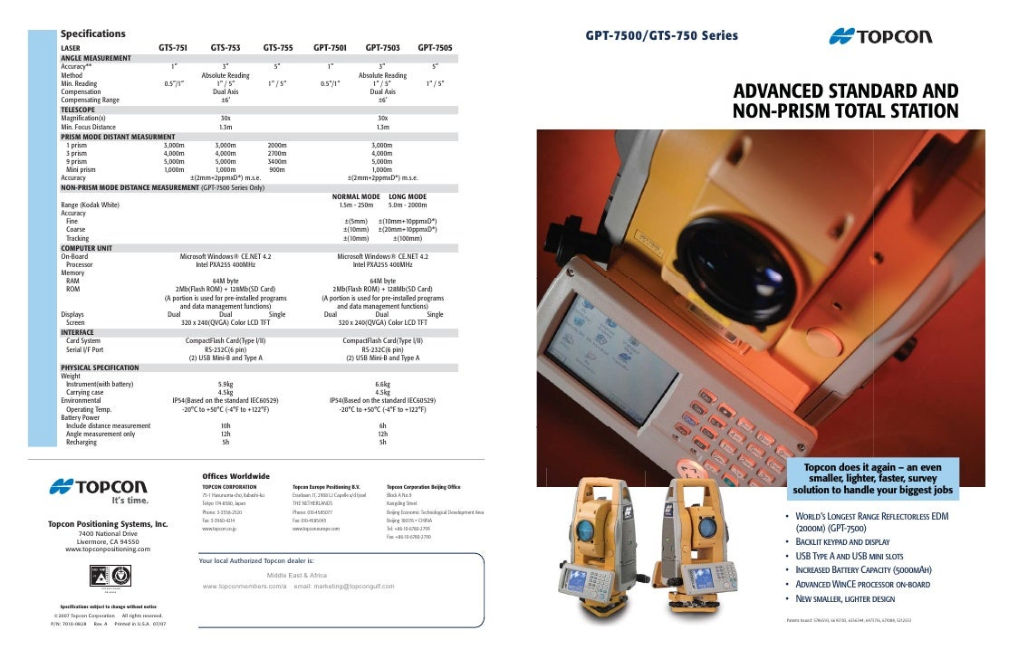 gpt 7500 gts 750 rh slideshare net Topcon Robotic Total Station Packages Topcon Total Station S6