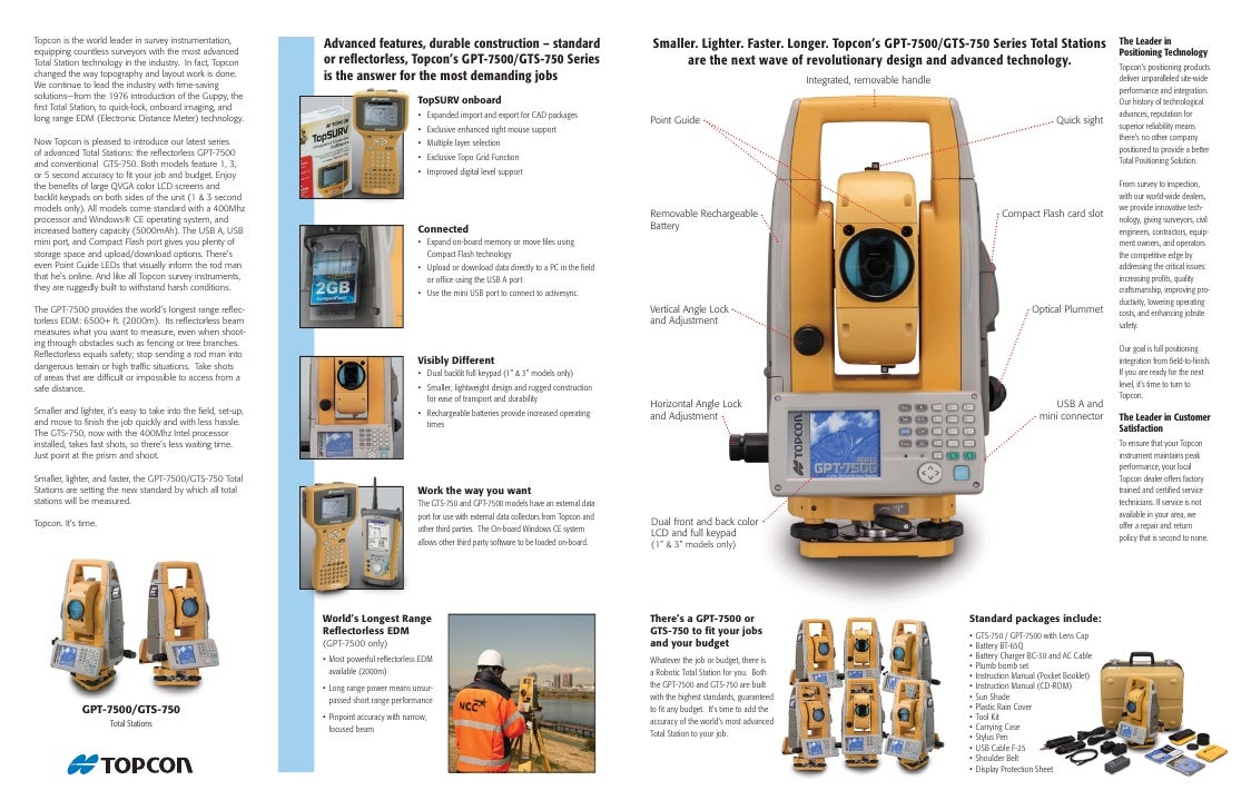 gpt 7500 gts 750 rh slideshare net Topcon Robotic Total Station Topcon Total Station Models