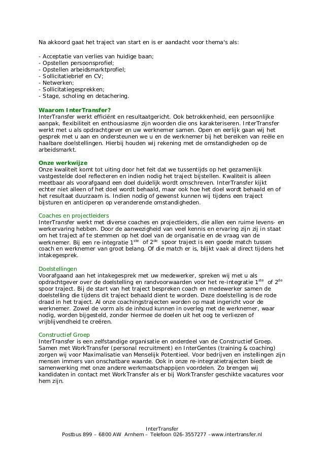 open sollicitatie receptioniste Brochure InterTransfer re integratie 1ste & 2de spoor