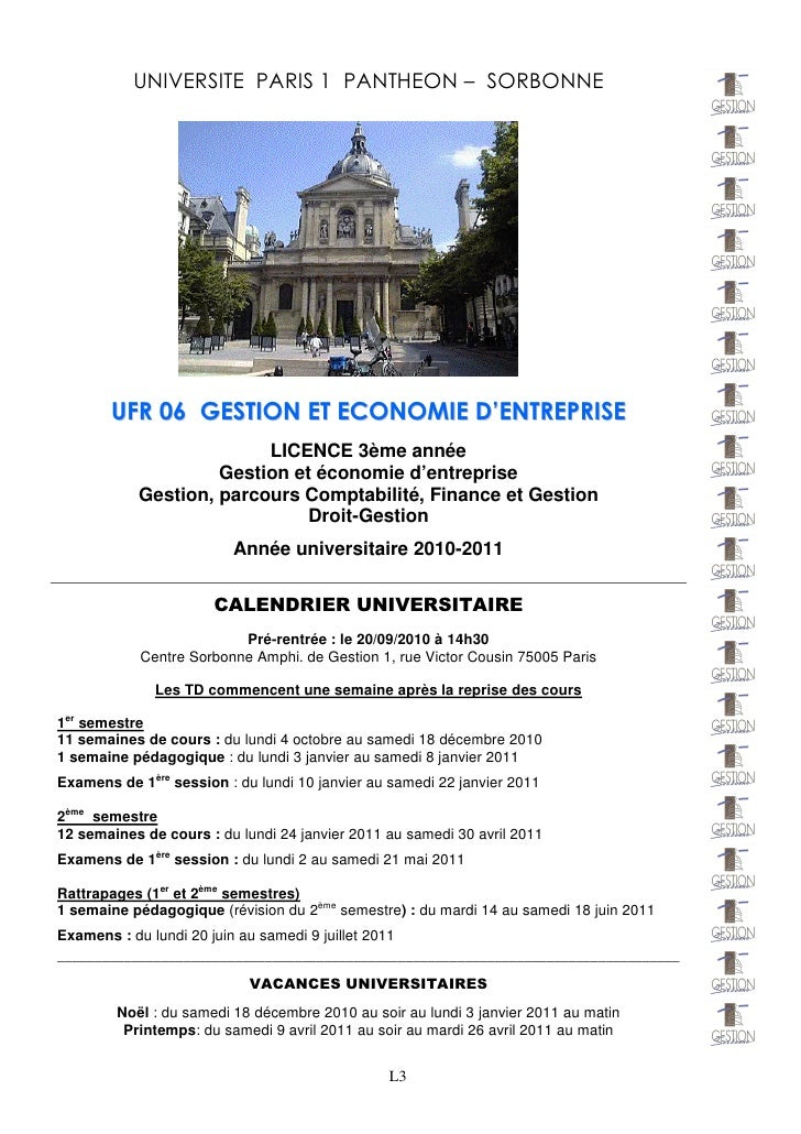 UNIVERSITE PARIS 1 PANTHEON – SORBONNE       U F R 0 6 G E S T IO N E T E C O N O M IE D 'E N T R E P R IS E              ...