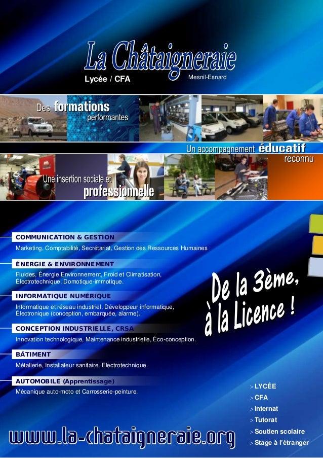 Lycée / CFA  Mesnil-Esnard  COMMUNICATION & GESTION Marketing, Comptabilité, Secrétariat, Gestion des Ressources Humaines ...