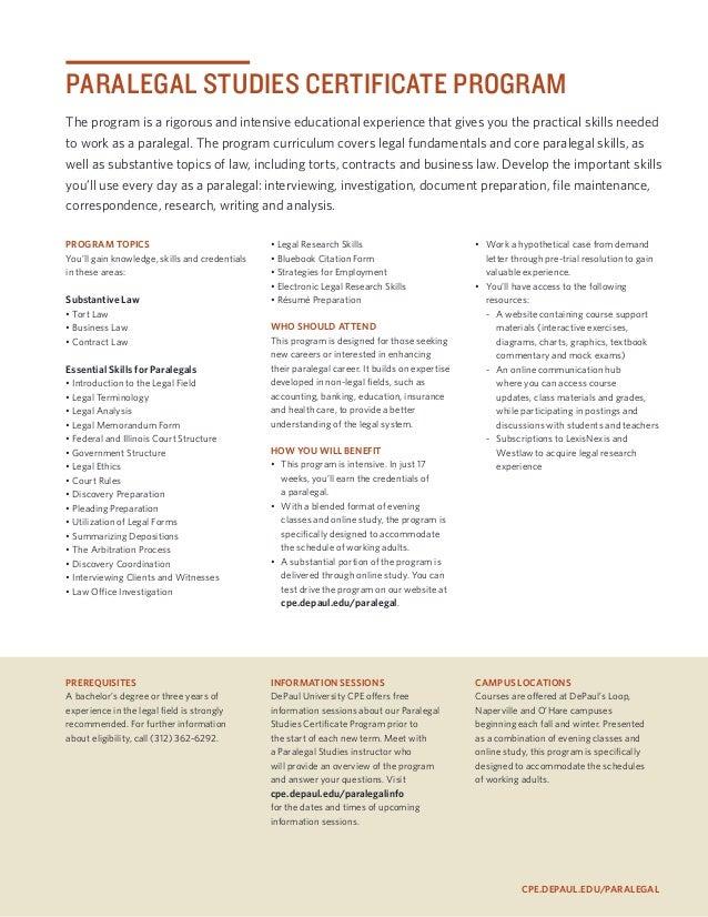 Paralegal Studies Certificate Program Guide 2013 2014