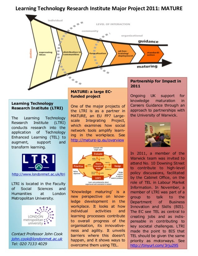 Learning Technology Research Institute Major Project 2011: MATURE MATURE: a large EC- funded project One of the major proj...