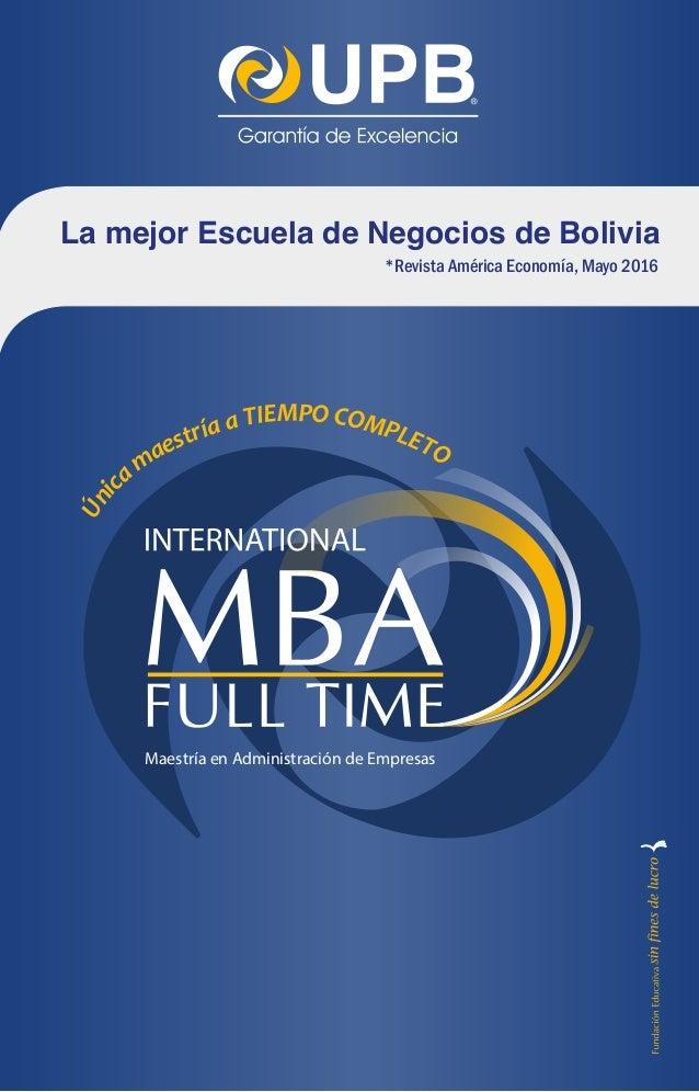 Brochure MBA Full Time UPB