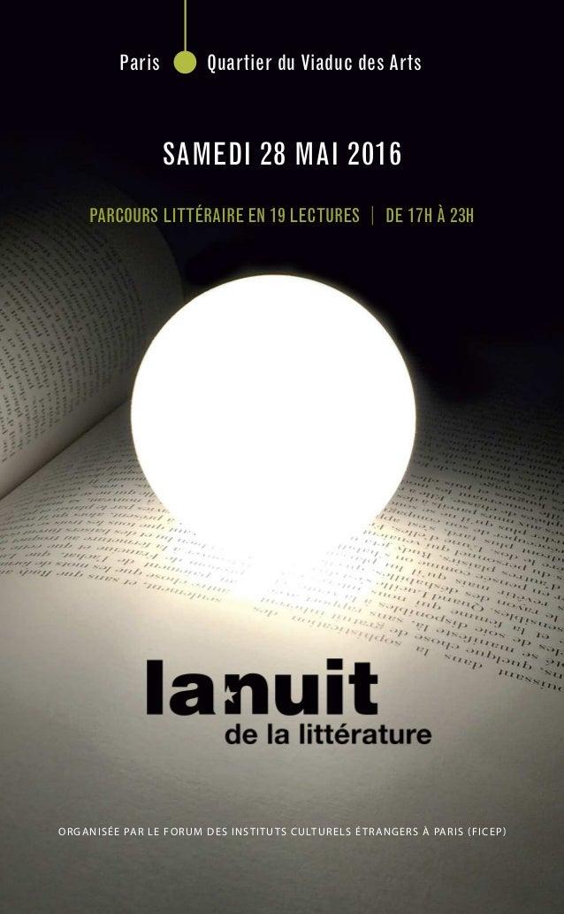 organisée par le Forum des instituts culturels étrangers à paris (Ficep) Paris Quartier du Viaduc des Arts PARCOURS LITTÉR...