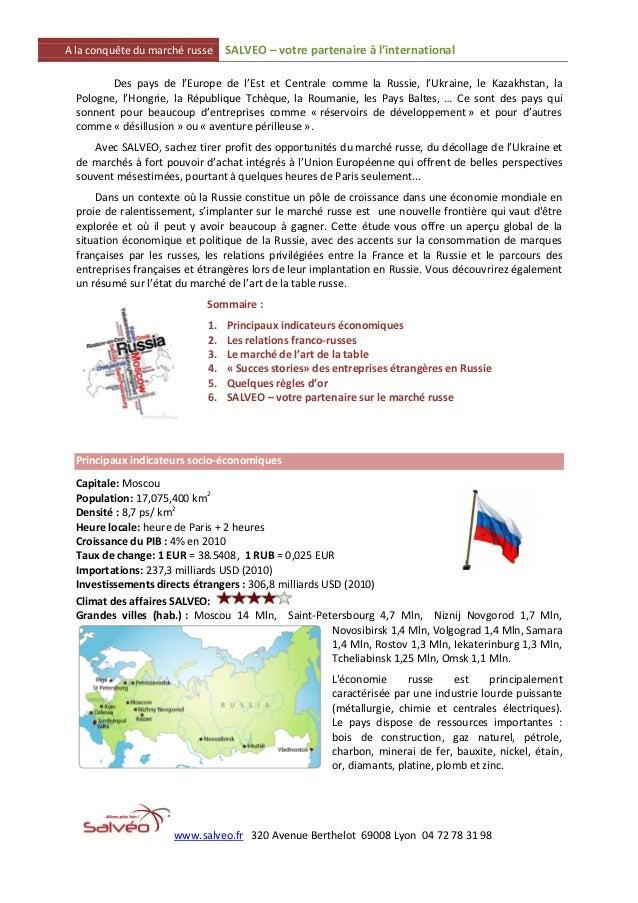 A la conquête du marché russe     SALVEO – votre partenaire à l'international         Des pays de l'Europe de l'Est et Cen...