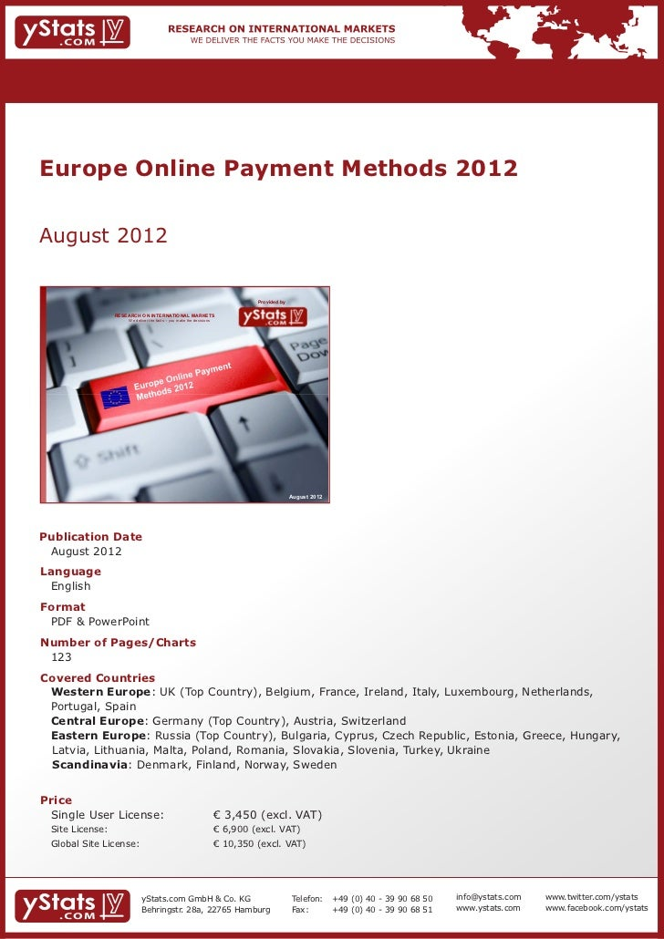 Europe Online Payment Methods 2012    August 2012                                                                         ...