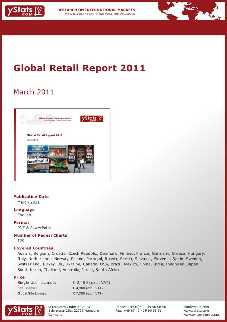 Global Retail Report 2011March 2011                    RESEARCH ON INTERNATIONAL MARKETS                        We deliver...