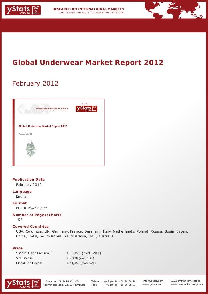 Global Underwear Market Report 2012February 2012                                                                          ...