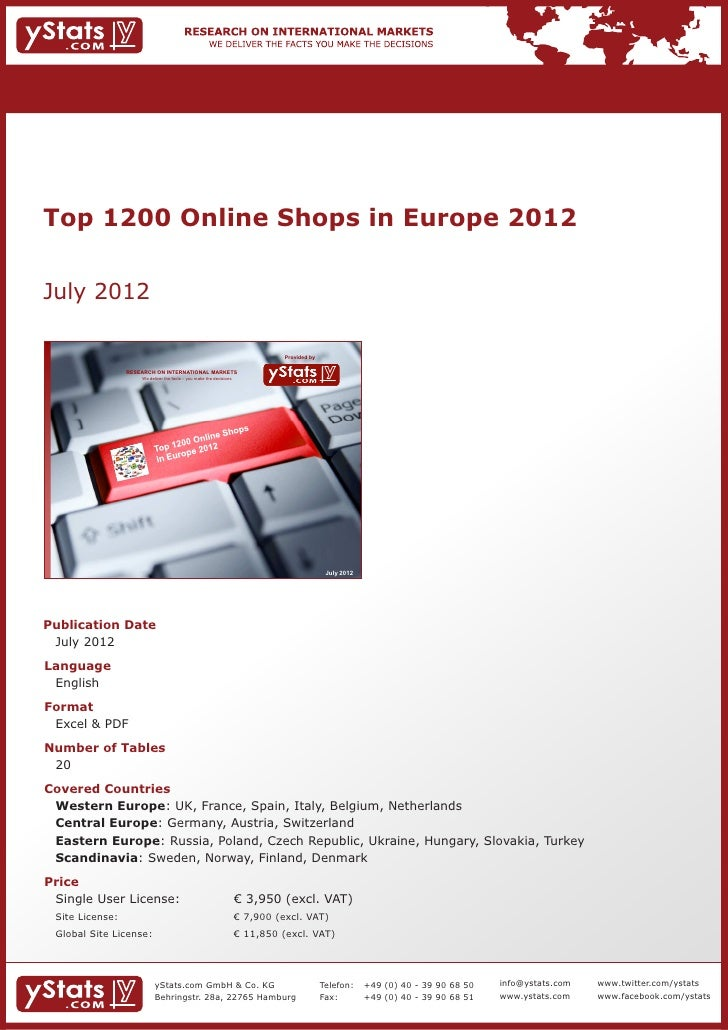 Top 1200 Online Shops in Europe 2012July 2012                                                                           Pr...