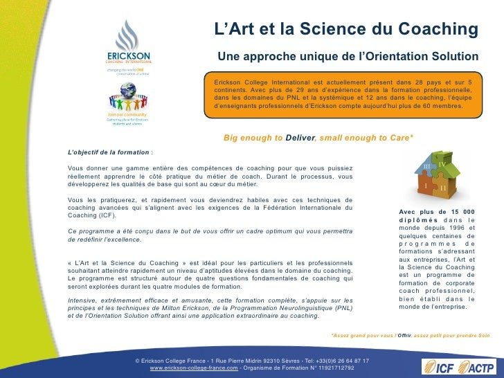 Brochure L'Art et la Science du Coaching printemps 2011