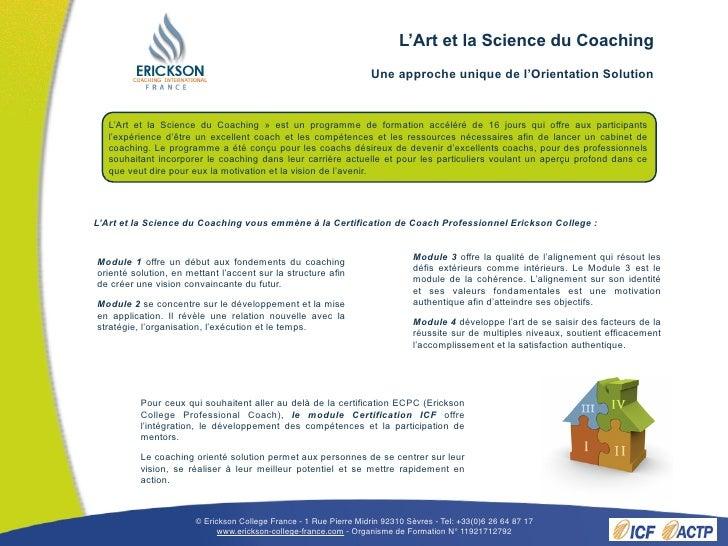 Brochure L'Art et la Science du Coaching printemps 2011 Slide 2