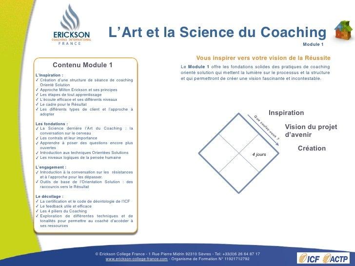 Brochure L'Art et la Science du Coaching printemps 2011 Slide 3