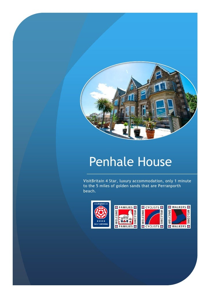 Penhale House VisitBritain 4 Star, luxury accommodation, only 1 minute to the 5 miles of golden sands that are Perranporth...