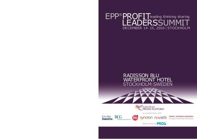 radisson blu waterfront hotel stockholm sweden In partnership with Sponsored by EPP® profit leaderssummitdecember 14-1...