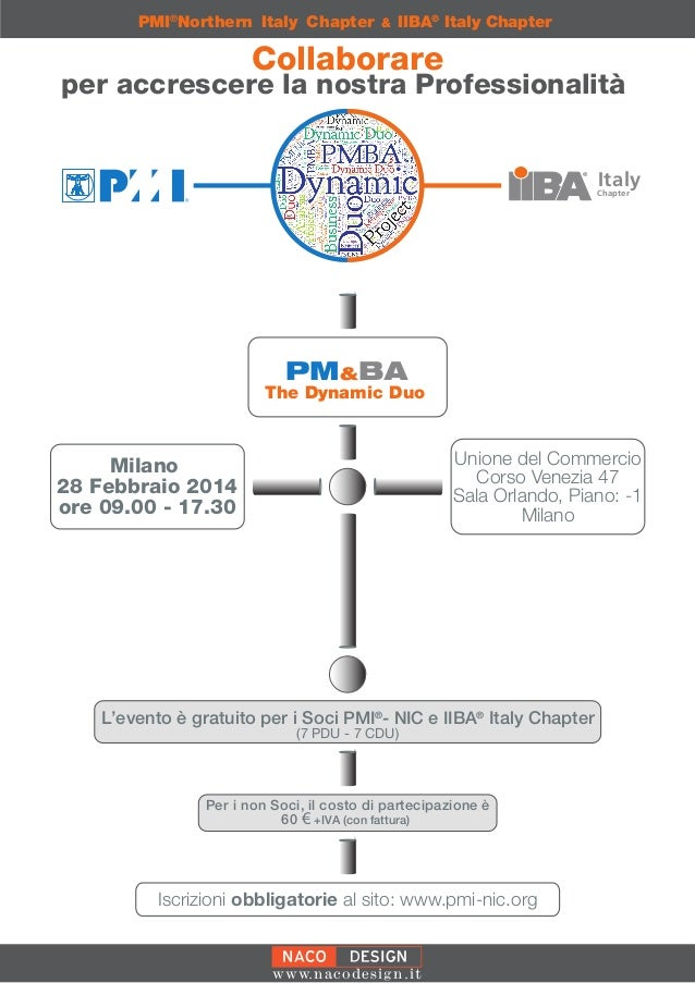 PMI®Northern Italy Chapter  &  IIBA® Italy Chapter  Collaborare  per accrescere la nostra Professionalità Italy  Chapter  ...