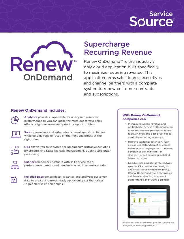 Supercharge Recurring Revenue Renew OnDemand™ is the industry's only cloud application built specifically to maximize recu...