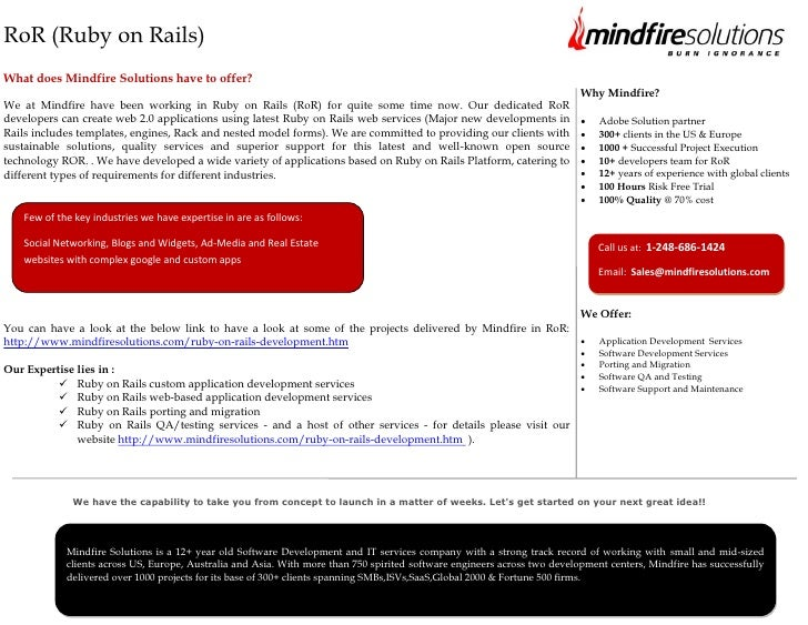 RoR (Ruby on Rails)What does Mindfire Solutions have to offer?                                                            ...