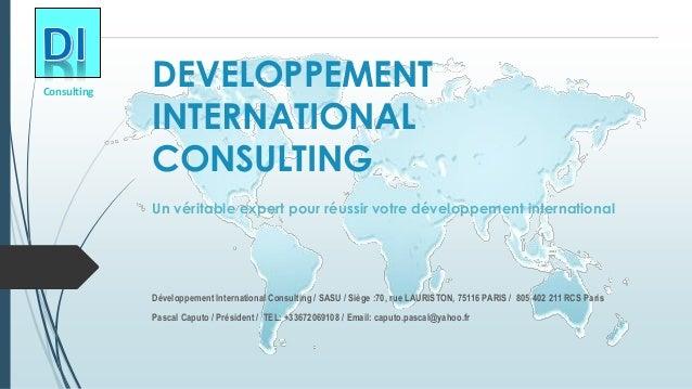 DEVELOPPEMENT INTERNATIONAL CONSULTING  Un véritable expert pour réussir votre développement international  Développement ...