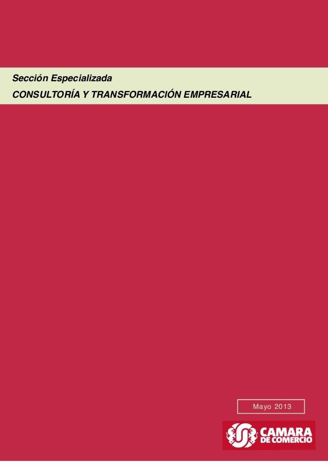 Mayo 2013 Sección Especializada CONSULTORÍA Y TRANSFORMACIÓN EMPRESARIAL