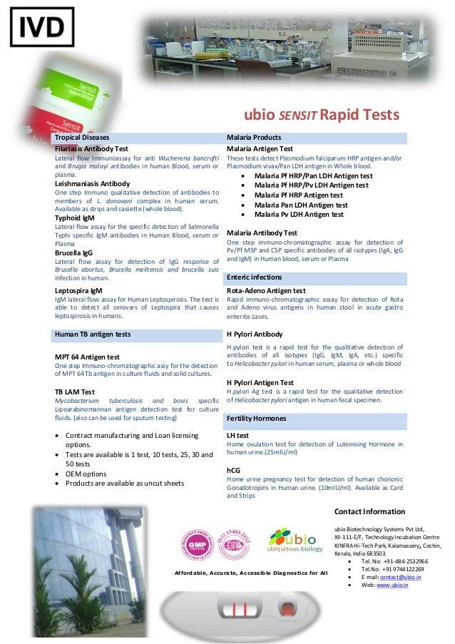 ubio SENSIT Rapid TestsTropical Diseases                                             Malaria ProductsFilariasis Antibody T...
