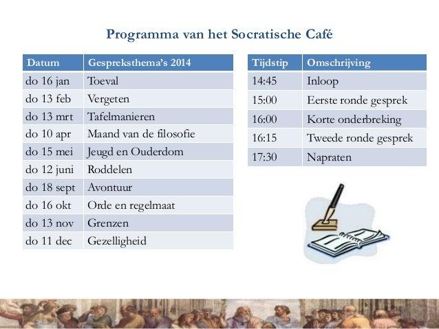 Programma van het Socratische Café Datum Gespreksthema's 2014 do 16 jan Toeval do 13 feb Vergeten do 13 mrt Tafelmanieren ...