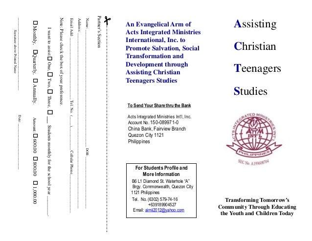AssistingChristianTeenagersStudiesTransforming Tomorrow'sCommunity Through Educatingthe Youth and Children TodayAn Evangel...