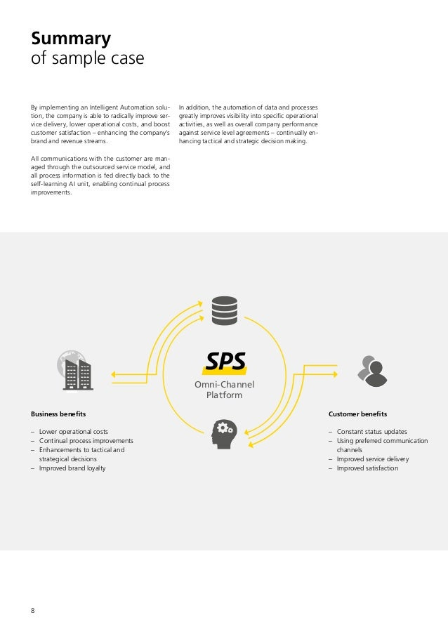 8 Summary of sample case By implementing an Intelligent Automation solu- tion, the company is able to radically improve se...