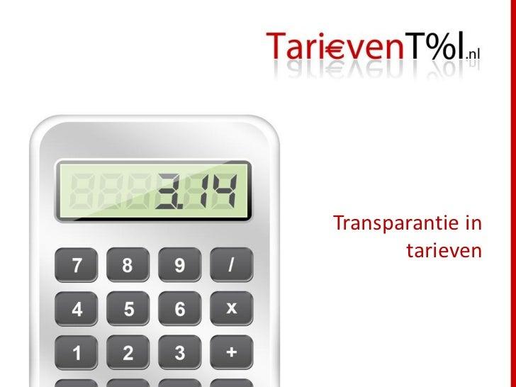 Transparantie in       tarieven