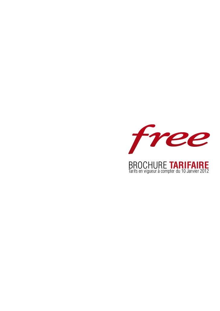 brochure tarifaireTarifs en vigueur à compter du 10 Janvier 2012