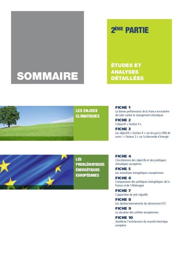 2ème partie  SOMMAIRE LES ENJEUX CLIMATIQUES  études et analyses détaillées  FICHE 1  La bonne performance de la France en...