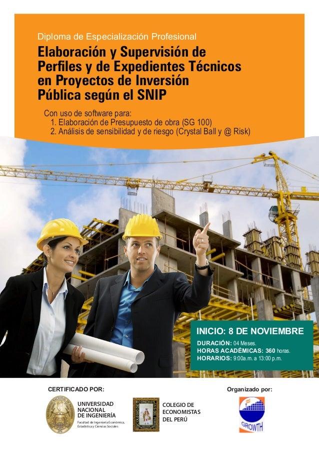 Diploma de Especialización Profesional  Elaboración y Supervisión de  Perfiles y de Expedientes Técnicos  en Proyectos de ...
