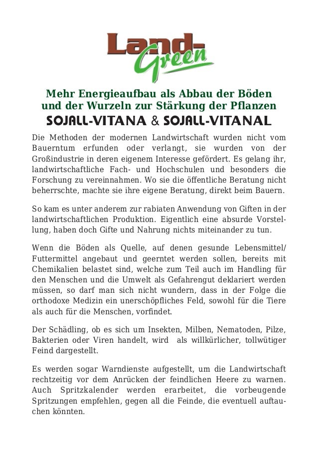 Mehr Energieaufbau als Abbau der Böden und der Wurzeln zur Stärkung der Pflanzen SOJALL-VITANA & SOJALL-VITANAL Die Method...